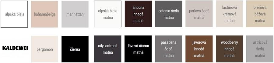 Vzorkovník farieb oceľových vaní KALDEWEI